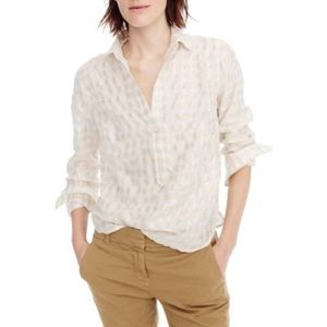 J. Crew Gold Metallic Cotton Voile Popover Shirt
